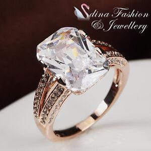 18K-Rose-Gold-Filled-Simulated-Diamonds-Radiant-Cut-Split-Band-Luxury-Ring
