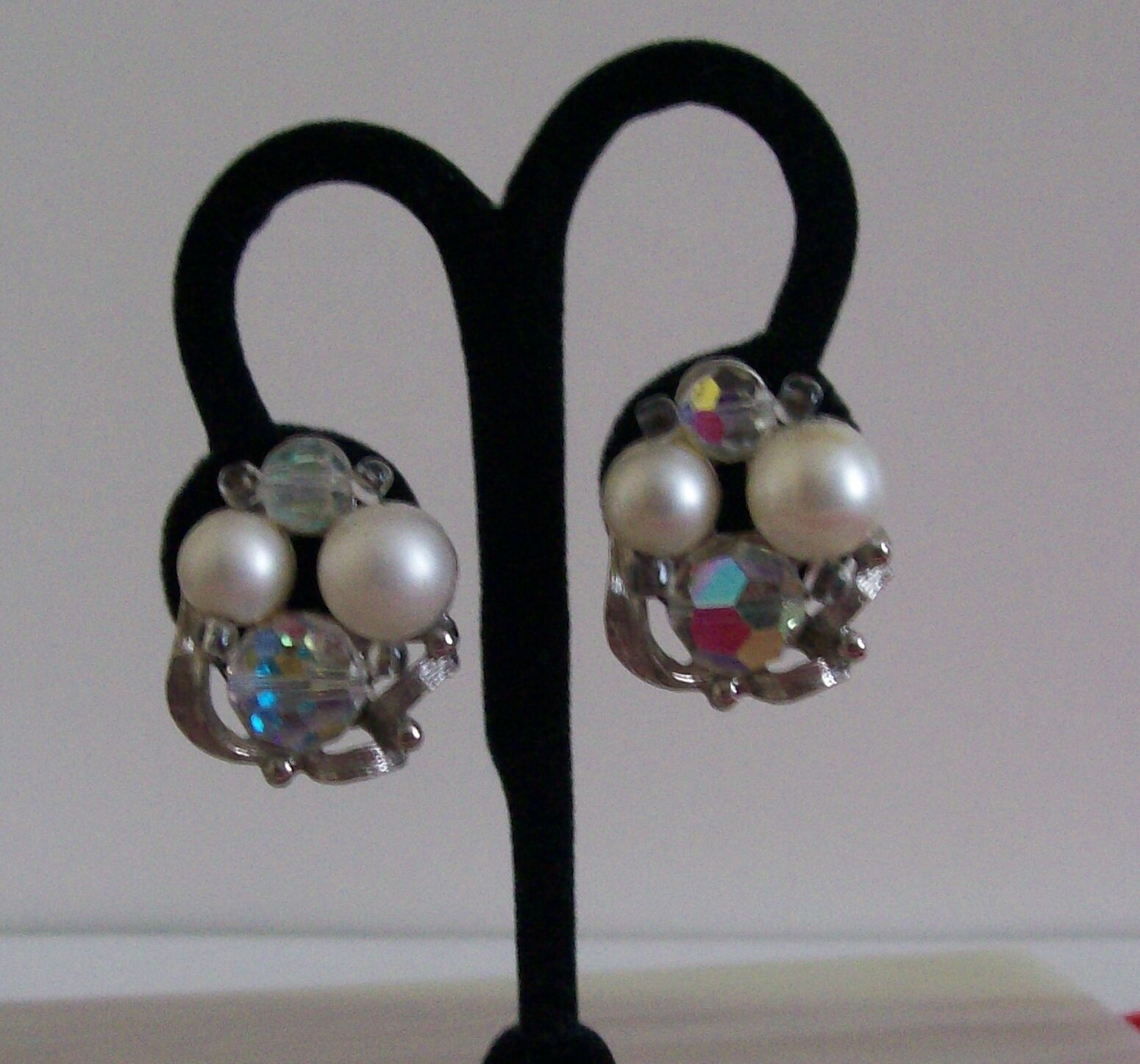 Vintage Signed Judy Lee Faux Pearl Faceted AB Crystal Beads Clip On Earrings