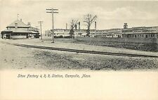 c1906 Lithograph Postcard; Shoe Factory & R.R. Station, Campello MA Plymouth Co.