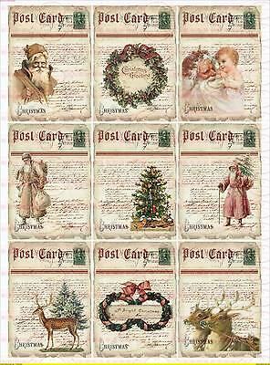 Basteln & Kreativität Bügelbilder Trendmarkierung Bügelbild Santa Claus Weihnachten Christmas Rot Reh Merry Vintage A4 No 1691