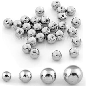 100PC Silvery Stainless Ball Top Beads Accessory for Navel Nose Body Piercing fb
