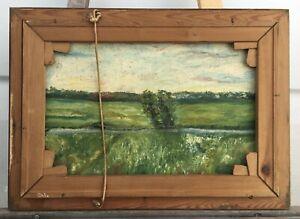 Olgemaelde-Landschaft-Wassermuehle-beidseitig-bemalt-55-x-40-cm