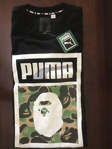 cheap for discount 6b744 1b3c0 Image is loading Bape-x-Puma-Men-039-s-T-shirt-Ape-