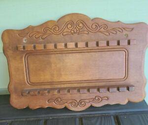Wood-Souvenir-Spoon-Display-Rack-Carved-Design-22-Slots-13-034-x-10-034