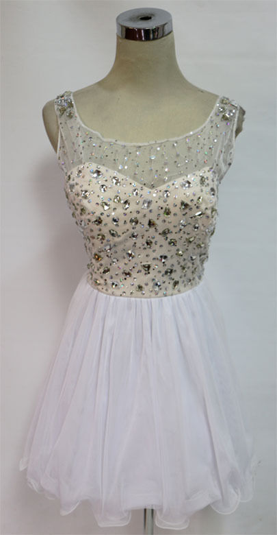 MASQUERADE White Champagne Prom Party Dress 7 - 110 NWT