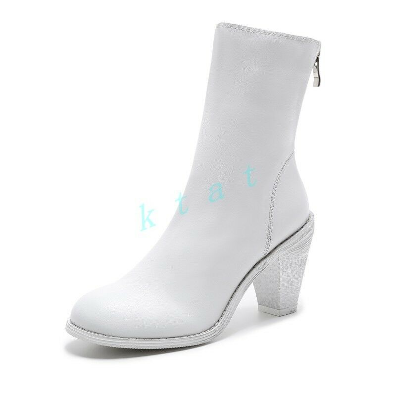 botas al Tobillo De Mujer Mujer De Estilo Retro Roma Cuero Puntera Puntiaguda cremallera taco alto Zapatos Punk 523a7b