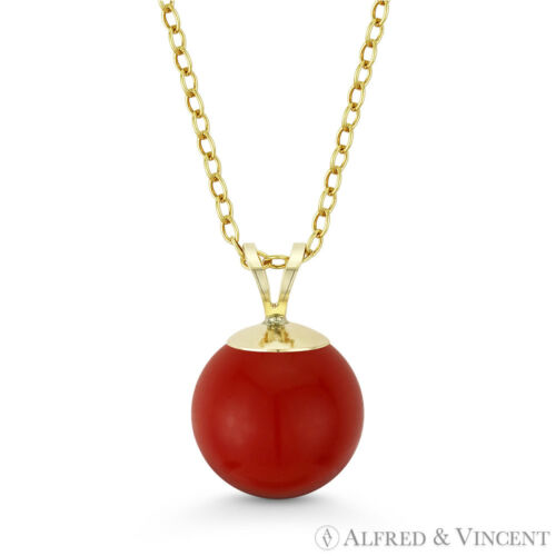 Red Sea Coral Ball Bead Solitaire 14k Yellow Gold Pendant /& Cable Chain Necklace
