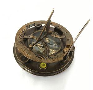 Gilbert & Sons large-screw Adjustable Generous Sundial/compass -vintage Nautical Aust