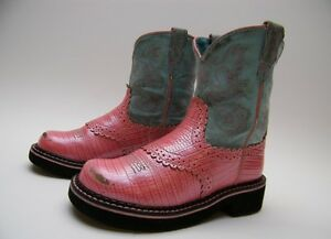 63886ec0867 Details about LITTLE GIRLS KIDS YOUTH ARIAT FATBABY PINK LEATHER COWBOY  WESTERN BOOTS SZ 12.5