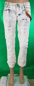Jeans Donna Pantaloni MET Italy C659 Gamba Dritta Bianco Sfumato Blu Tg 27