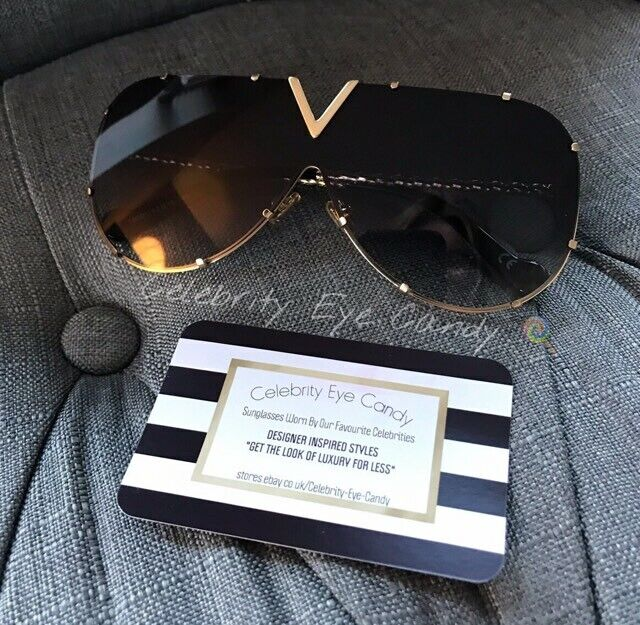 bb6c8cb416d Grey Shield Sunglasses Shades DESIGNER Inspired Celebrity British Company  A35 for sale online