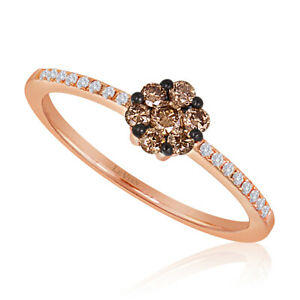 LeVian 14K Rose Gold Chocolate Brown Round Diamond Beautiful Pretty Cluster Ring