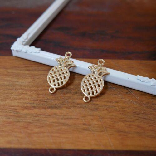 gold ca 26x13mm x9 NELLYS 2 Verbinder Ananas Metallperlen silber o