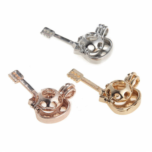 3PCS Locket Pendant Guitar Shape Pearl Beads Cage Silver//Rose Gold Oil Diffuser