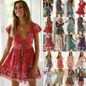 Women-Boho-Floral-Tea-Dress-Summer-Casual-Beach-Party-Ladies-Mini-Wrap-Sundress
