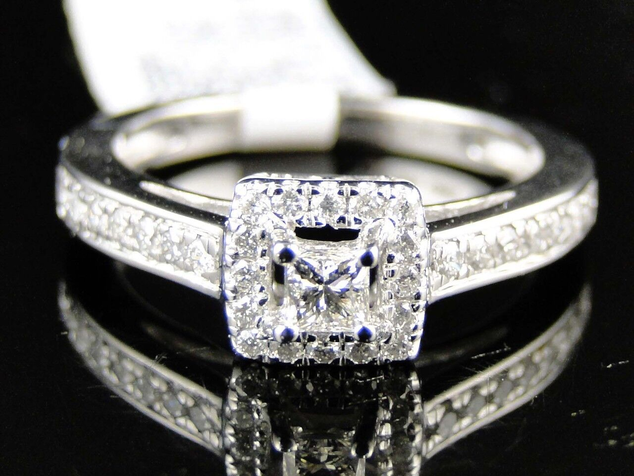 14K LADIES WHITE gold PRINCESS CUT DIAMOND ENGAGEMENT WEDDING 7MM RING 1 2 CT