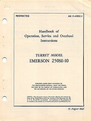 Emerson 250SE-10 Nose ball Turret Maint Inst's (B-24/PB4Y-2) Flight Manual  (CD)
