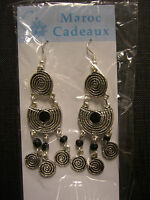 Moroccan Jewelry Earrings Silver Coloured Metal Detailed 'swirls' Black Enamel