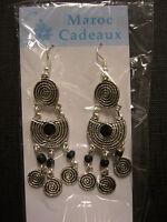 Moroccan Jewelry Earrings Silver Coloured Metal Detailed 'swirls' Black Enamel