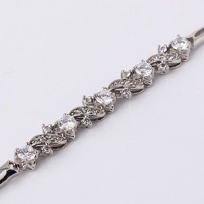 "Charm WHITE sapphire Crystal 18k white GOLD FILLED FASHION bracelet 7""9.7g"
