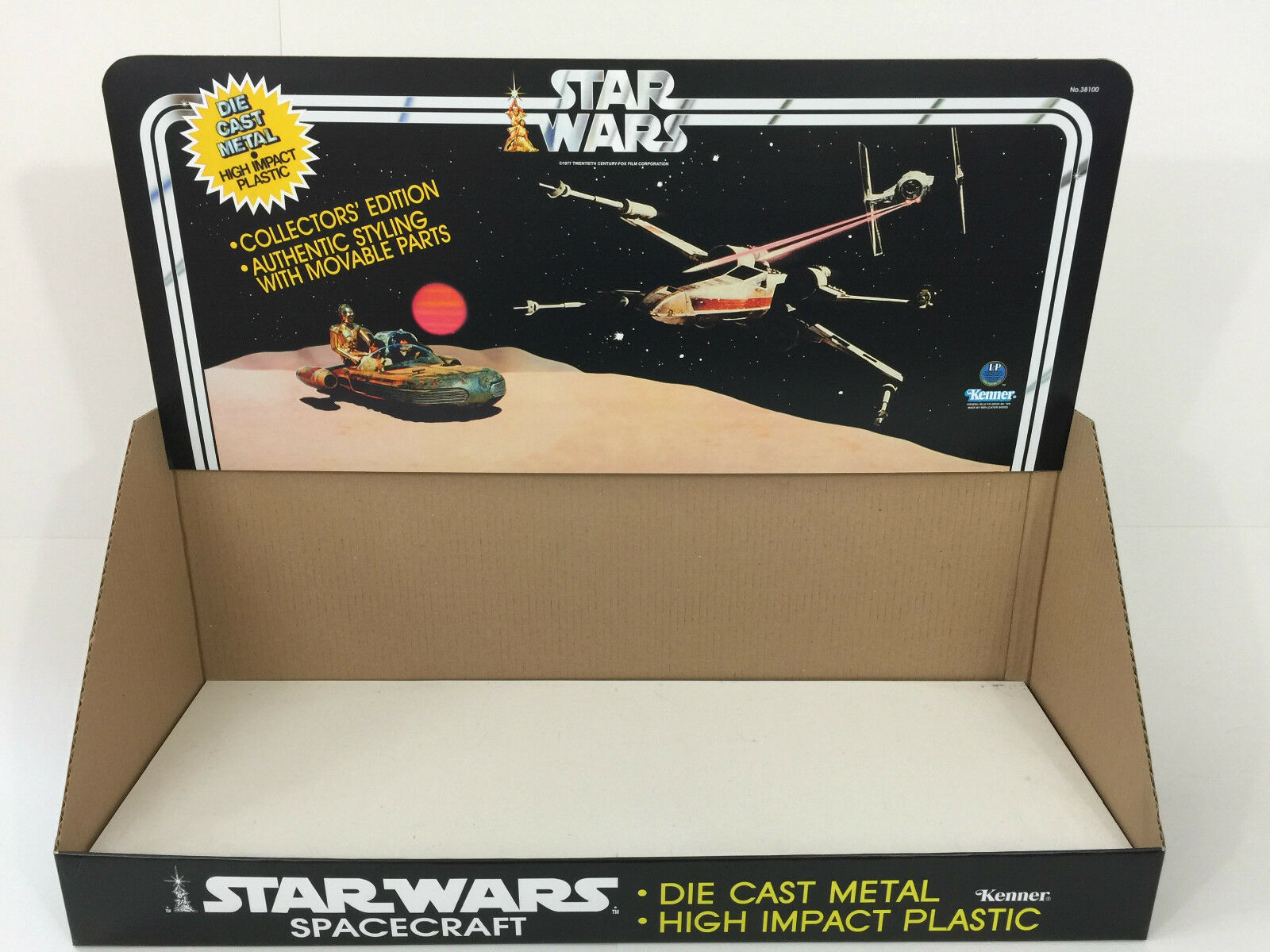 Reproduction vintage star wars die cast 1st edition display bin and header