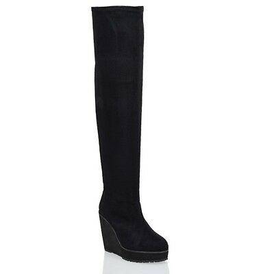 Womens Ladies Over The Knee High Platform Wedge Black Long Thigh High Boots