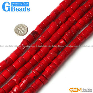 Red-Coral-Gemstone-Column-Heishi-Beads-For-Jewelry-Making-Free-Shipping-15-034