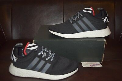 san francisco fa9fa 94ecb New Mens Adidas NMD R2 Tokyo Sz 11 Black White Red BY2325 | eBay