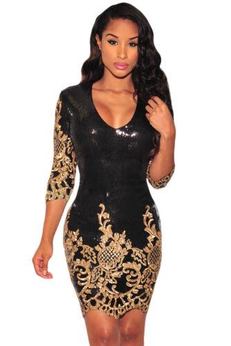 Abito cono ricamato Aderente Scollo Ballo Party Cerimonia Sequin Bodycon Dress S
