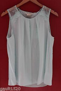 NWT-Cynthia-Rowley-100-Silk-Aquamarine-Blue-Lace-Trim-Gorgeous-Blouse-Top-S
