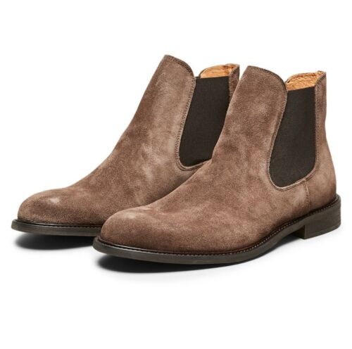 online store 8f4b9 3cdab Cacao Chaussures Selected Homme Cuir Élégant Daim Chelsea Brun Hautes  Bottes wtfXf14q