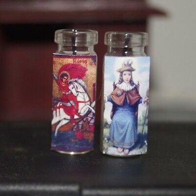 SANTA MUERTE x2 Miniature Dollhouse Prayer CATHOLIC Saint CANDLE Altar Santisima