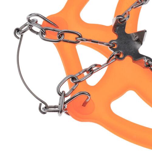 Pair Ice Snow Anti Slip Shoe Spikes Grips Grippers Crampon 18-Teeth Orange L