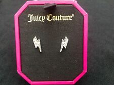 NIB Juicy Couture New Genuine Silver Plated Lightening Bolt Earrings (Pierced)