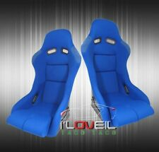 Low Max Style Jdm Full Bucket Racing Automotive Car Seats With Sliders Blue Cloth Fits Seat