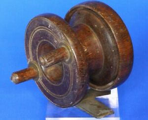 Small-Antique-wooden-fishing-reel-2-inch-diameter-19862
