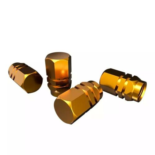 Gold pack of 4 Colourful Tyre Caps Suitable For All Vehicles