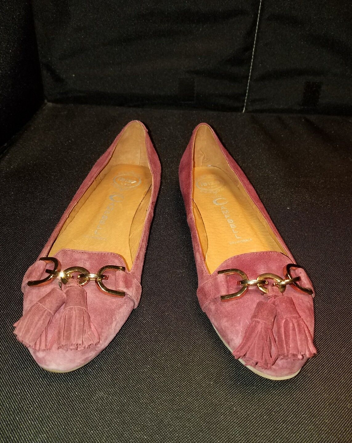 NWOB Jeffrey Campbell US7 Plum Suede gold Chain Tassel Ballet Flats shoes