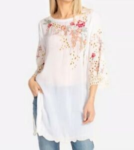 NWT-Johnny-Was-Belina-Women-039-s-Blouse-Floral-Embroidered-Boho-Tunic-Top-275