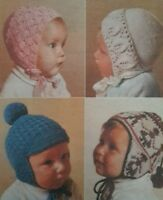 KNITTING PATTERN BABY BONNETS & HELMETS DOUBLE KNITTING & 4PLY