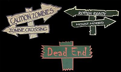 Halloween Decorations FOAM SIGNS Haunted House Crafts Prop Building Supplies-6pc