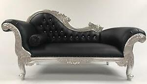 Astonishing Details About French Style Ornate Chaise Longue Sofa Silver Black Faux Leather Crystals Medium Creativecarmelina Interior Chair Design Creativecarmelinacom