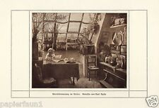 Abendstimmung im Atelier Kunstdruck von 1915 Curt Aghte Berlin Dachwohnung Abend