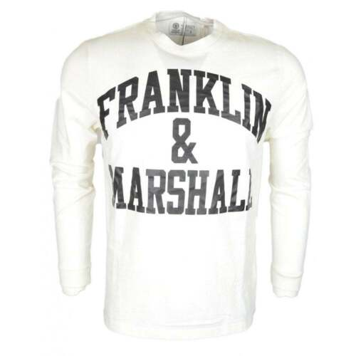 Franklin /& Marshall Jersey Round Neck Printed Long Sleeve White T-Shirt