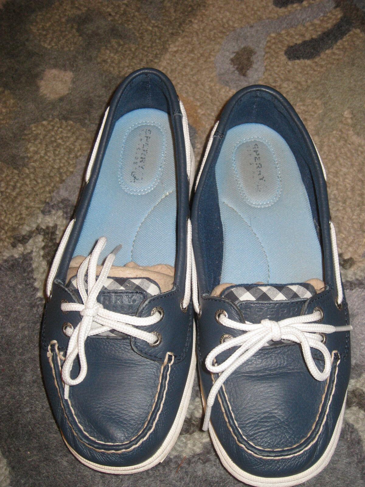 Damenschuhe SPERRY TOP SIDER NAVY Blau PLAID LOAFERS BOAT Schuhe SIZE 7M LACED Blau