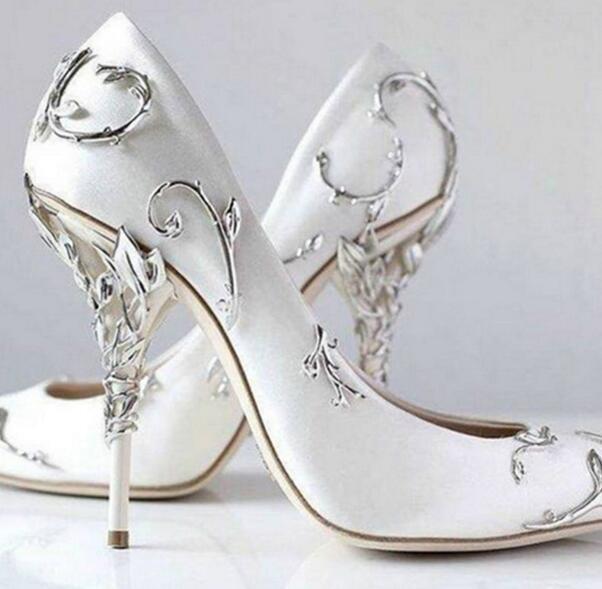 femmes high heel metal decor pointed toe chaussures wedding pumps party stilettos new