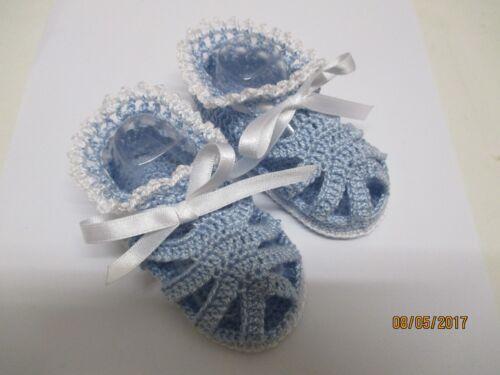 3-6mths Baby Thread Crochet Shoes Handmade Boys Blue Sandals with white trim