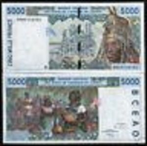 WEST-AFRICAN-STATES-IVORY-COAST-5000-FRANCS-P113A-1999-UNC-MONEY-BILL-BANK-NOTE