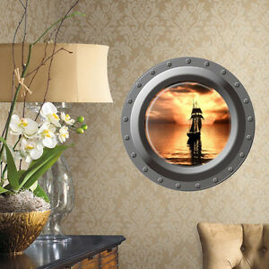 3d Ocean Sea Window Wall Decal Porthole Graphic Sticker