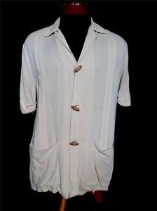 RARE-VINTAGE-HOLLYWOOD-STYLE-1950-039-S-LT-BROWN-RAYON-GABARDINE-SHIRT-SIZE-MED